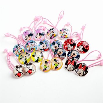 1Pairs=2pcs New Lovely Hair rope Cartoon Mickey Minnie Hair ring Hair Accessories Girls Elastic Hair bands Children Gift