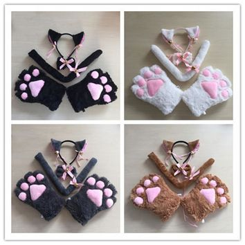 Cosplay  adorable fun lace tassels Cat Ears headband animal paw gloves wrist strap women  maid shorts socks Cosplay Accessories