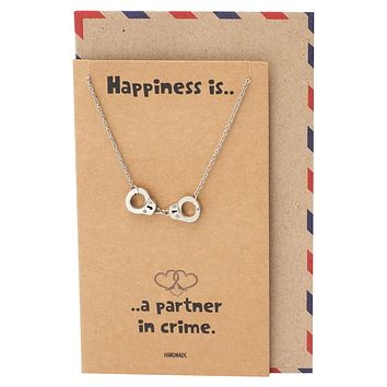 Flora Handcuff Necklace for Women, Best Friend Gifts, Gift for Women with Greeting Card