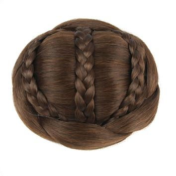 Soowee 6 Colors Synthetic Hair Brown Braided Chignon Clip In Hair Bun Donut Hair Roller Party Hair Accessories for Women
