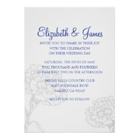 Custom Modern Navy Blue Wedding Invitations