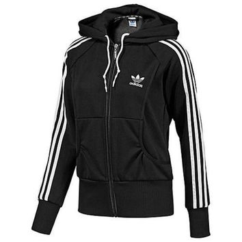 DCCKN7G Adidas' Women Fashion Hooded  Zip Cardigan Jacket Coat Sweatshirt
