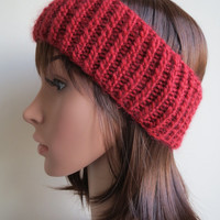 Hand-knit, Soft and Chunky, Ribbed, Earwarmer Headband in Red