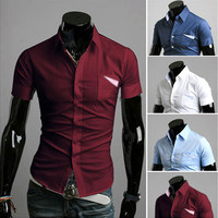 Fashion Men Slim Fit Summer Short Sleeve Dress Shirt