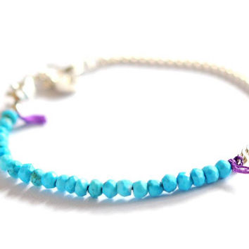 Turquoise stone and chain bracelet by Vivien Frank