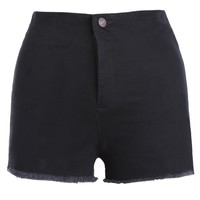 Stylish Slit High Waist Solid Color Mini Shorts For Women