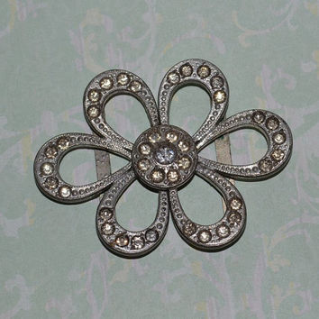 Rhinestone Belt Buckle 2 Piece Clip Daisy Flower Shape 20s 30s Vintage Wedding