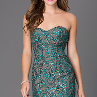 Sequin Strapless Short Homecoming Dress