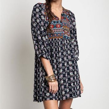 UMGEE Navy MIX NAVAJO PRINT BABYDOLL DRESS BOHEMIAN TOP Boutique