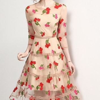 Floral Embroidered Tier Dress