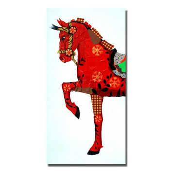 Modern Traditional  Red Horse  Painting Wall Art Home Decoration Home Decor Decorative Fine Art Pictures Handpainted  Pop Art