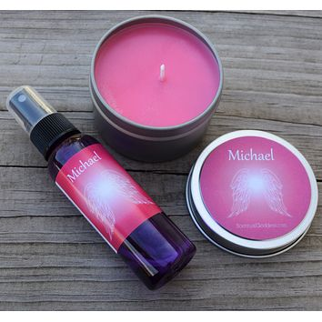 Angel Michael Gift Set - Protection - Guardian Angel Michael Candle & Meditation Spray with Black Tourmaline & Rose Quartz