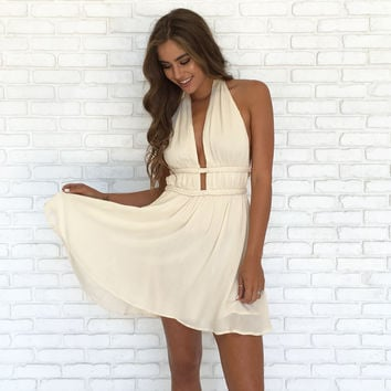 Oasis Halter Dress In Cream