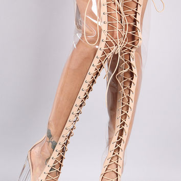 Lucite Lace Up Chunky Heeled Over-The-Knee Boots