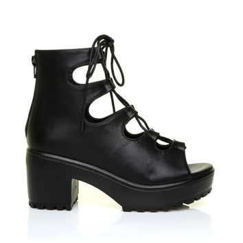 LILLY Black PU Leather Lace Up Peep Toe Chunky Sole Gladiator Sandals