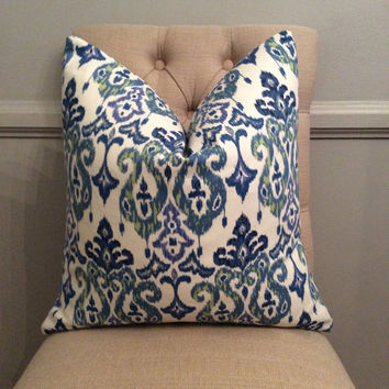 Handmade Decorative Pillow Cover - Mill Creek - Skimpole Panorama - Navy - Green - Purple - Ikat