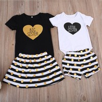 Sister Match Clothes Big Sister T-shirt Tops+Dot Skirt Little Sister Baby Romper+Shorts 2PCS Outfits