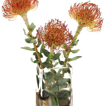 RUST PIN CUSHIONS IN SMALL VASE
