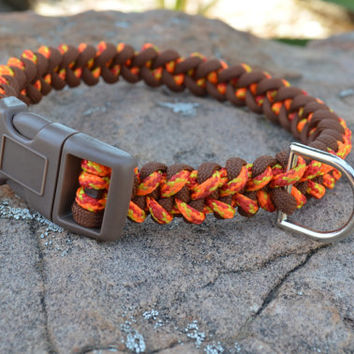 Macrame Style Paracord collar, orange and brown collar for medium dogs 13.5""