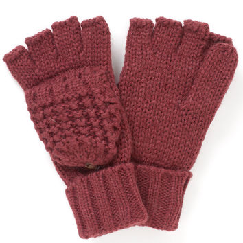 Chunky Waffle Capped Glove | Red | Accessorize