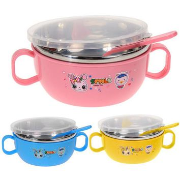 VONC1Y Children Stainless Steel Lunch Box for Kids Handle Soup Bowl with Spoon Food Jar Food Container