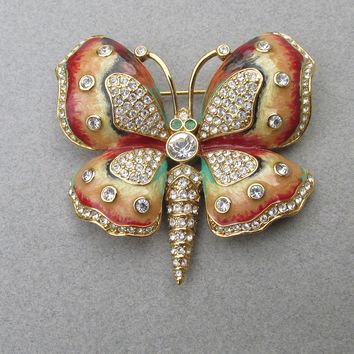 Gorgeous! Vintage Kenneth Jay Lane KJL Enamel & Rhinestone Butterfly Pin