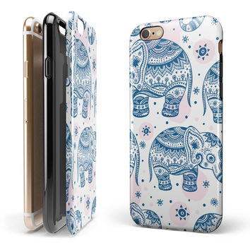 Ethnic Navy Seamless Aztec Elephant iPhone 6/6s or 6/6s Plus 2-Piece Hybrid INK-Fuzed Case