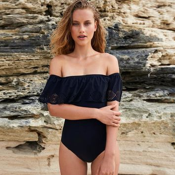 Ruffled Bandeau One Piece Swimsuit