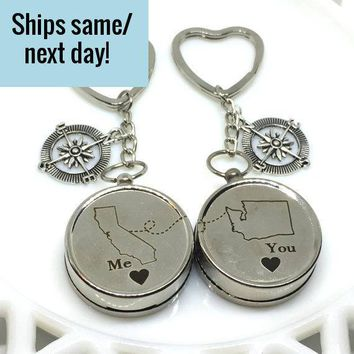 Engraved State Compass, Long Distance Friendship, Long Distance Compass, Engraved Compass, Custom Engraved Compass, Deployment Keychain