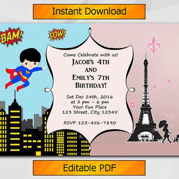 Twin Invitation, Editable Superhero and Paris Birthday Invitation, Instant Download, Sibling boy and girl etsy invitation T001
