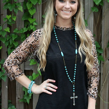 Lace Get Together Black Burnout Baseball Tee with Cheetah Print Sleeves