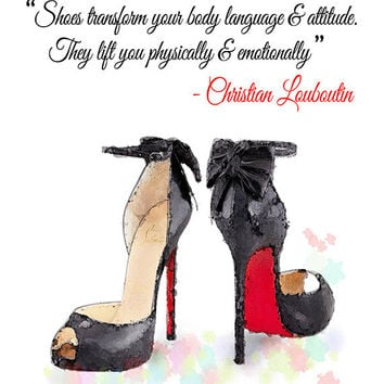 Black & Red Louboutin High Heels Shoes Quote Giclee Print from Original Watercolor Fashion Illustration Artwork
