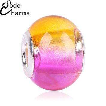 New Arrive Gradient European Fashion Charms Murano Glass Beads Fit Pandora Style Charm