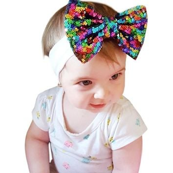 Colorful Sequin Bow Cute Baby Girl Child Infant Toddler Head Wraps Bandana Headband