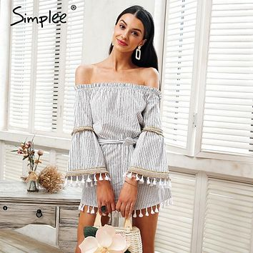 Simplee National boho stripe tassel jumpsuit romper Women sexy off shoulder overalls Summer beach flare sleeve short playsuit