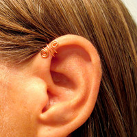 "No Piercing ""Spiral Up"" Ear Cuff for Upper Ear 1 Cuff - Copper or 17 Color Choices"
