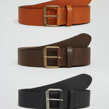 ASOS | ASOS Leather Belt 3 Pack SAVE 22% at ASOS