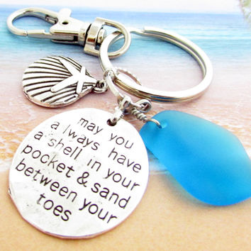 Sea Glass Keychain with Quote