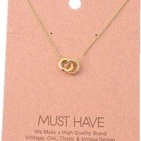 Must Have-Double Circle Necklace, Gold