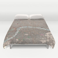 Vintage Map of London England (1862) Duvet Cover by BravuraMedia | Society6