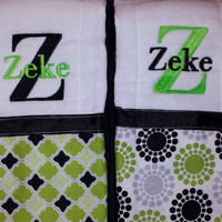 Monogrammed burp cloth, Personalized burp cloth, Monogrammed  boy burp cloth, Personalized boy burp cloth - Set of Two (Green/Black)