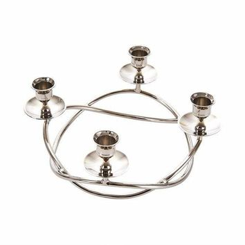 Beautifully Designed  Decorative Metal Candle Holder, Silver -Sagebrook Home