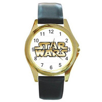 Star Wars (White and Gold) on a Gold Tone Watch with Leather Band