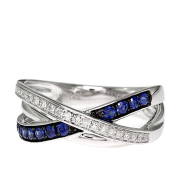 Effy Royale Bleu 14Kt. White Gold Sapphire and Diamond Crossover Ring
