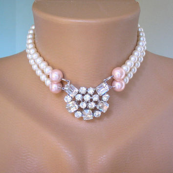 Pearl Bridal Necklace, Swarovski Pearl Choker, Wedding Jewelry, Bridal Accessories, Upcycled Jewelry, Pearl And Rhinestone Choker