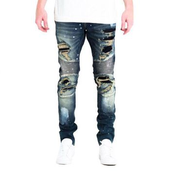 Embellish Nyc Tyrone Biker Jeans In Dark Blue - Beauty Ticks