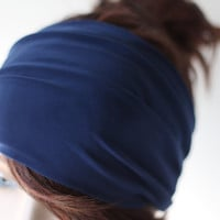 Deep Blue Turban Head Wrap, Wide Hair Band, Women's Yoga Wrap, Turband, Stretch Headband, Hair Accessories, Gifts for Her