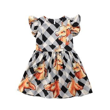 7af548e9e7d2 Baby Girls Summer Dress Ruffles Sleeve Animal Horse Print Prince