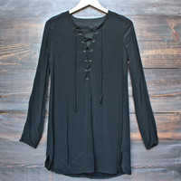 backstage front lace up dress in black
