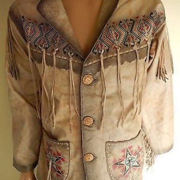 Kobler Cream Hand Painted Indian Fringe Jacket